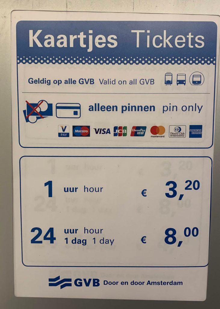 Ticket prices of the public transport in Amsterdam