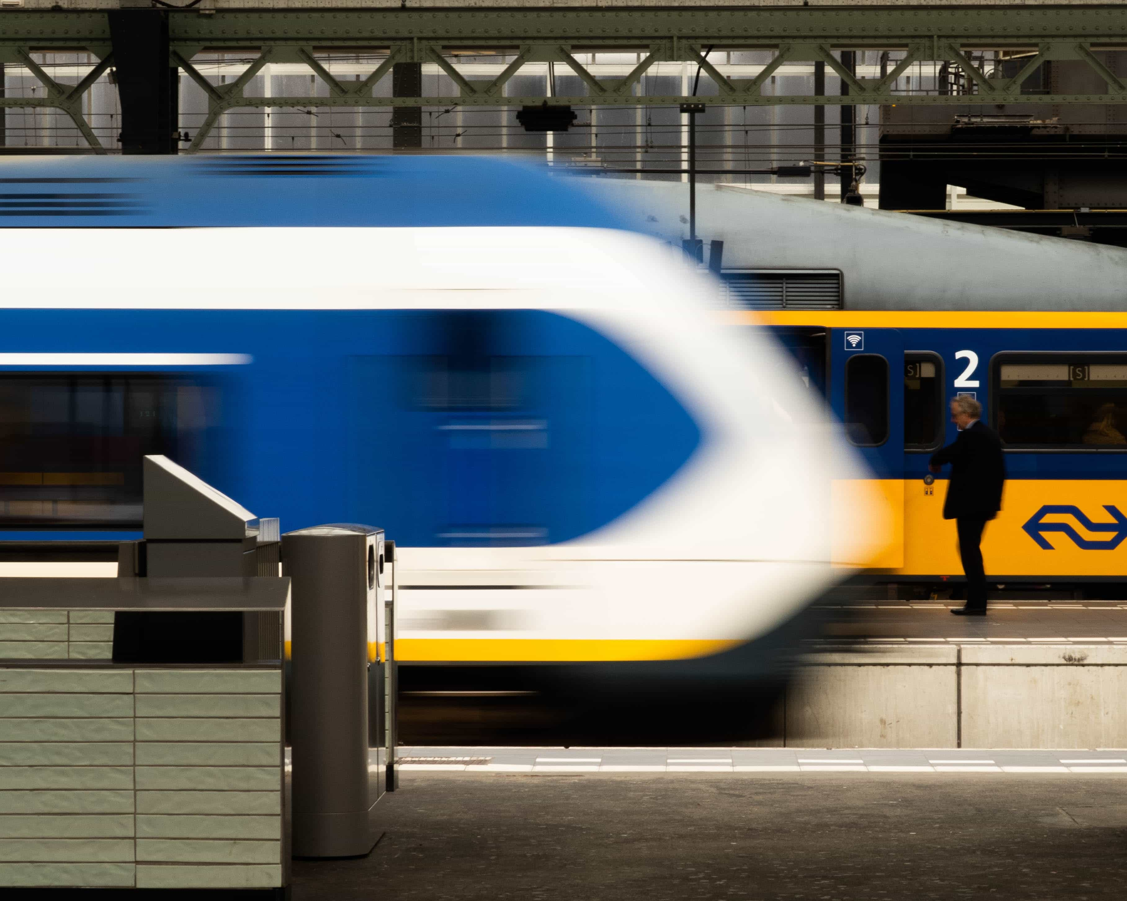 NS Trains at a Trainstation in The Netherlands